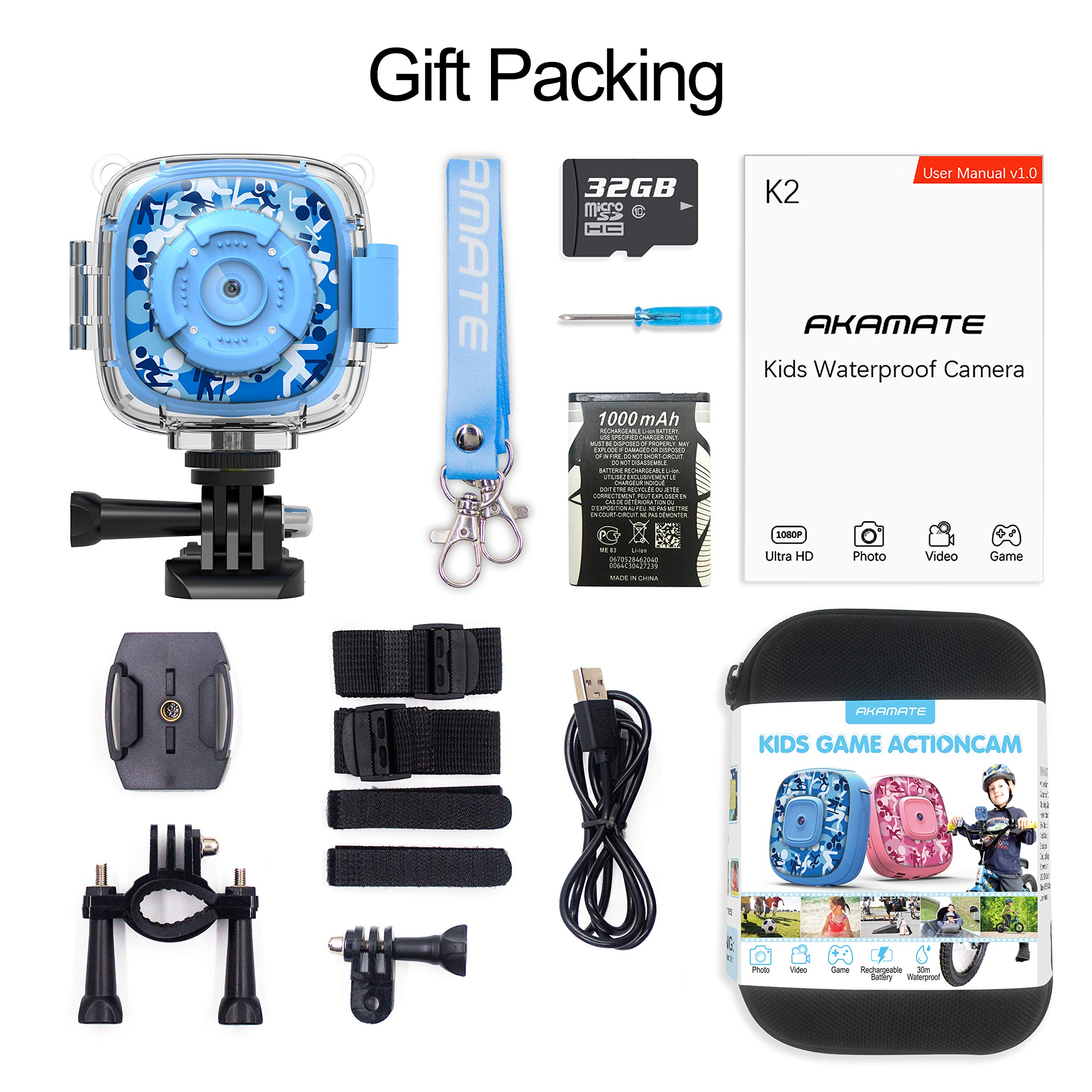 AKAMATE Kids Action Camera Waterproof Video Digital Children Cam 1080P HD Sports Camera Camcorder for Boys Girls, Build-in 3 Games, 32GB SD Card (Blue) by AKAMATE (Image #6)