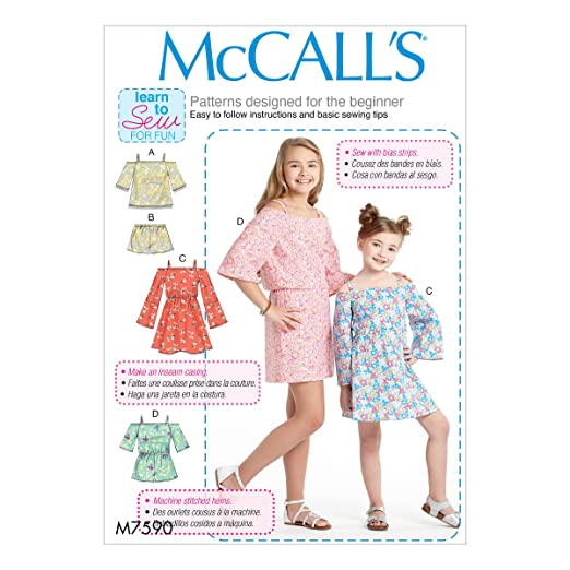 Amazon.com: Butterick M7590-Cce ChildrenS/Girls Off-the-Shoulder Top, 3-4-5-6