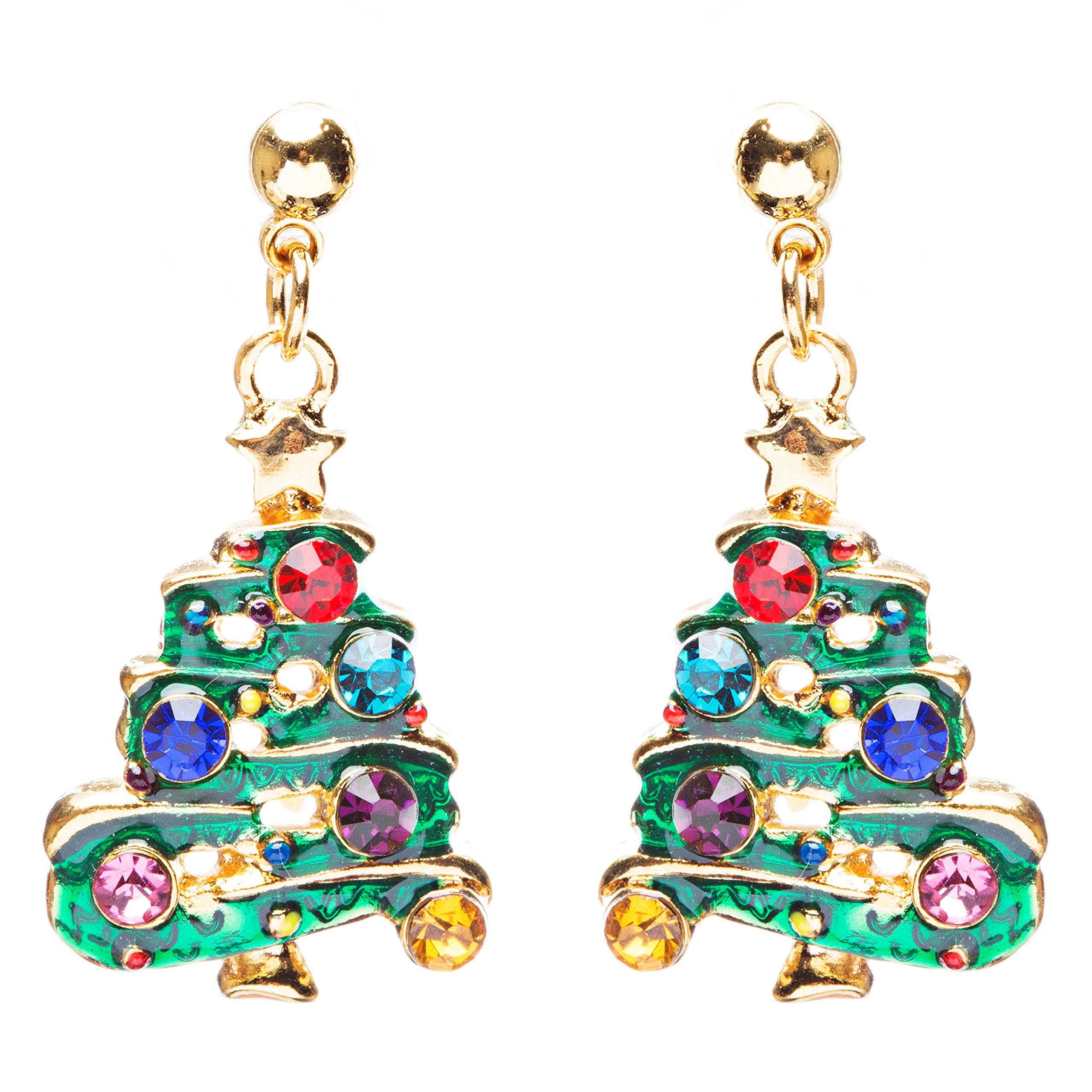 ACCESSORIESFOREVER Women Christmas Jewelry Crystal Rhinestone Tree Dangle Charm Earrings E881 Green