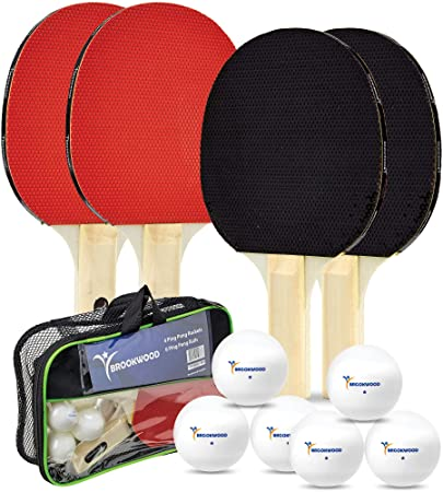 Brookwood Supplies Table Tennis Set – Ping Pong Paddles, 1 Star Balls – Double-Sided 5 Ply Rackets with Rubber Pimples Out Pads and Straight Handle