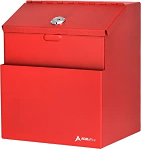 Adir Wall Mountable Steel Suggestion Box with Lock - Donation Box - Collection Box - Ballot Box - Key Drop Box (Red) with 25 Suggestion Cards