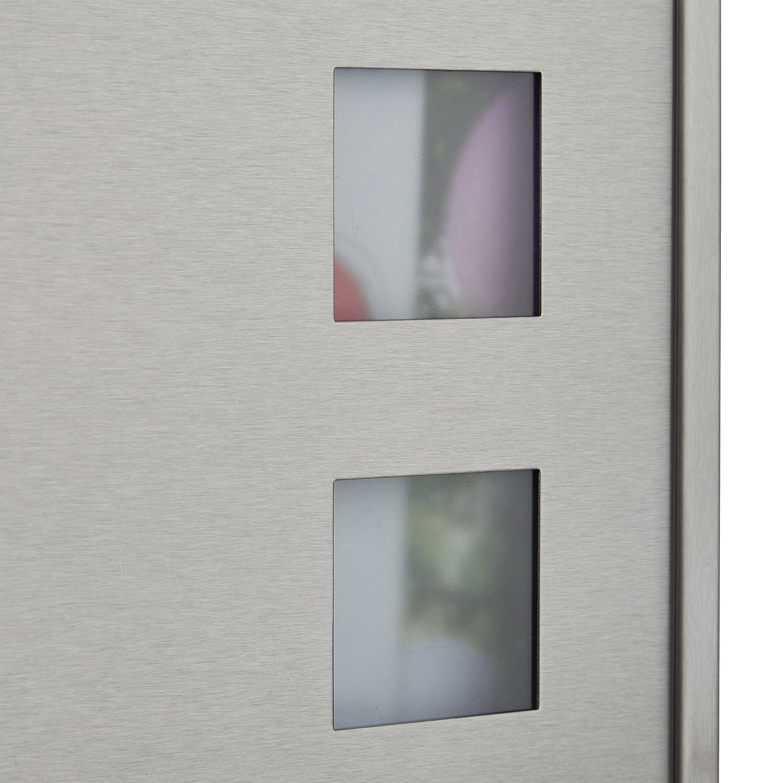 Namensschild HxBxT: 42 x 35 x 12,5 cm Sichtfenster silber Design Relaxdays Briefkasten Edelstahl mit Zeitungsfach