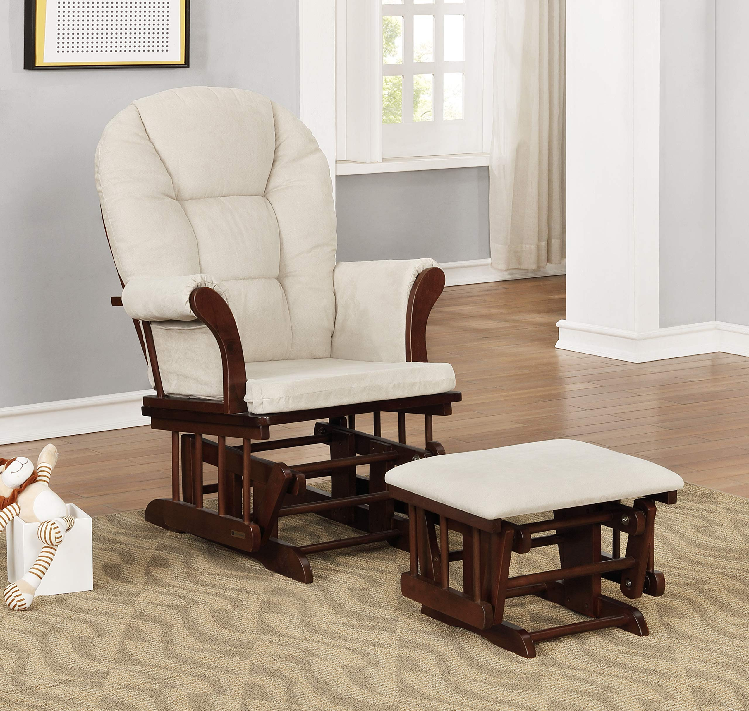 Lennox Furniture Charlotte Glider Chair and Ottoman Combo, Espresso with Beige by Lennox Furniture