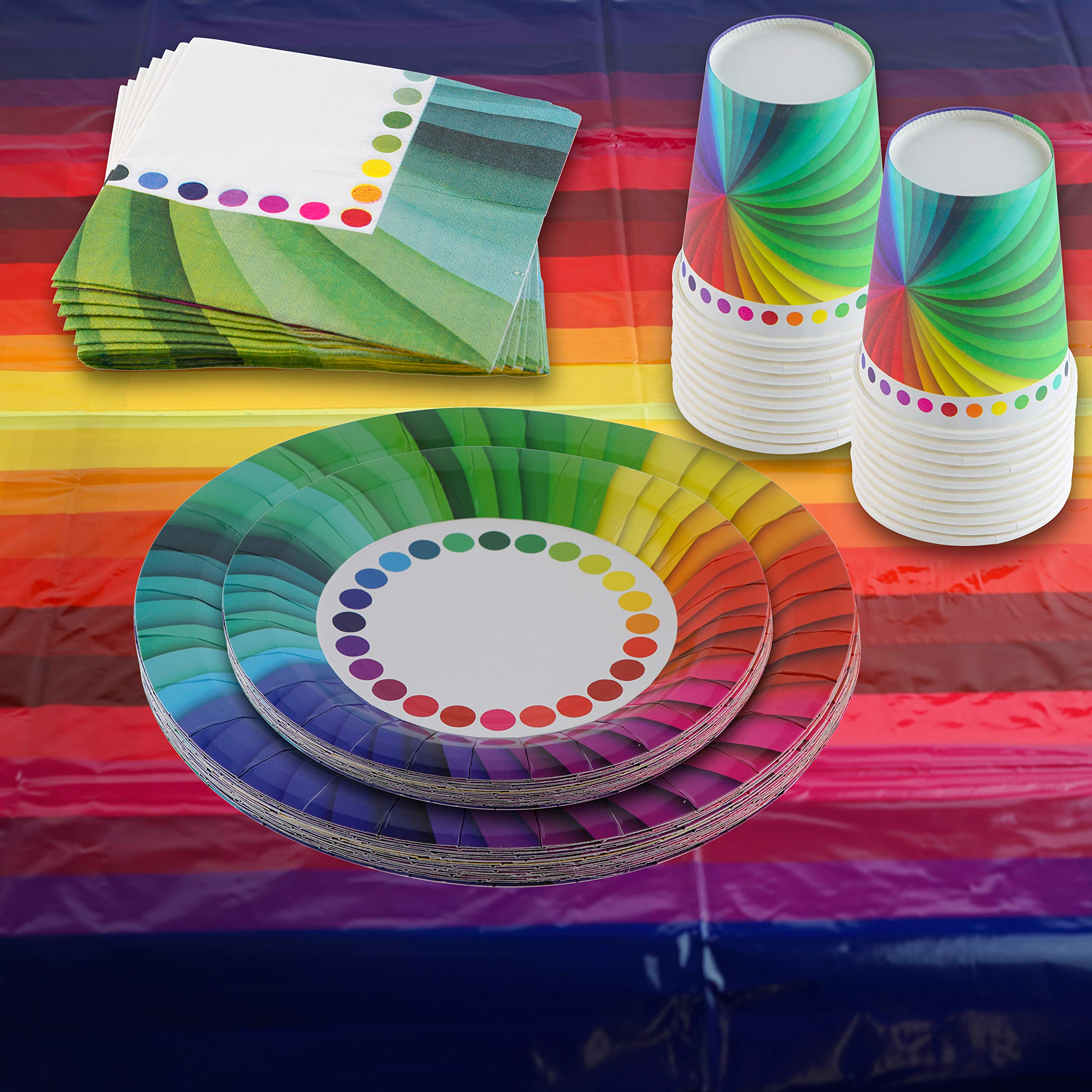 82 Piece Rainbow Party Set Including Banner, Plates, Cups, Napkins and Tablecloth, Serves 20 by Scale Rank (Image #2)