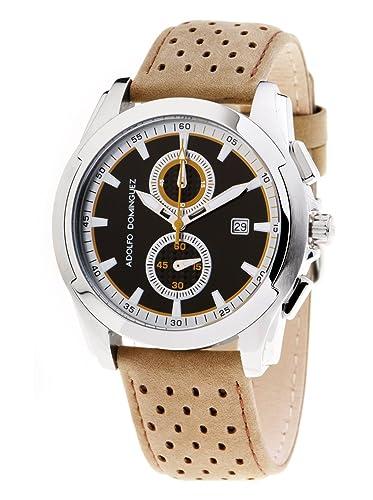 cd34d9017238 Adolfo Dominguez Watches 78103 - Reloj de Caballero Cuarzo Correa Piel  Beige  Amazon.es  Relojes