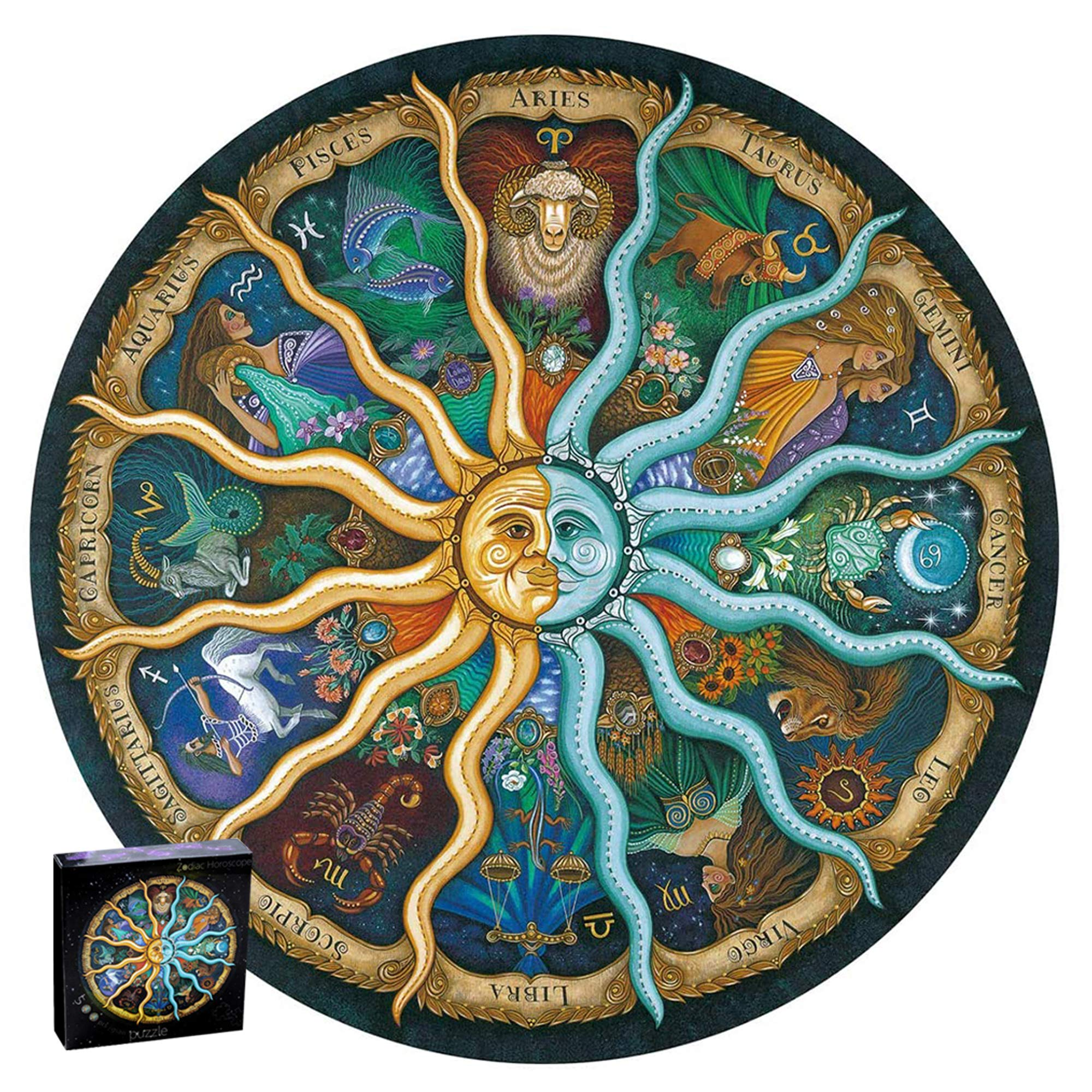 500 Pieces Puzzles, Round Zodiac Horoscope Jigsaw Puzzle, Challenge Cardboard Puzzle for Kids Adults