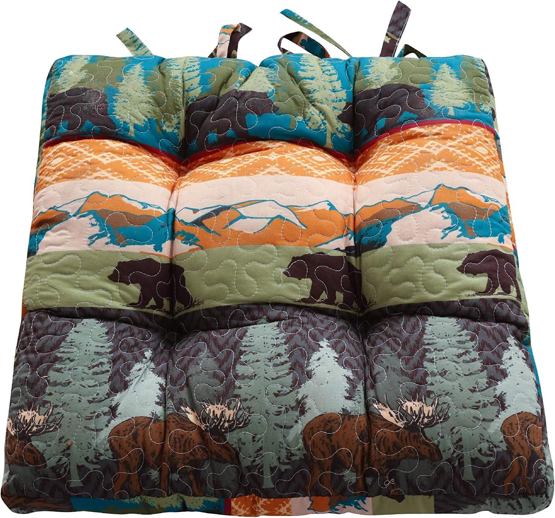 Greenland Home Fashions Black Bear Lodge Chair Pad, 18x18-inch, Multi