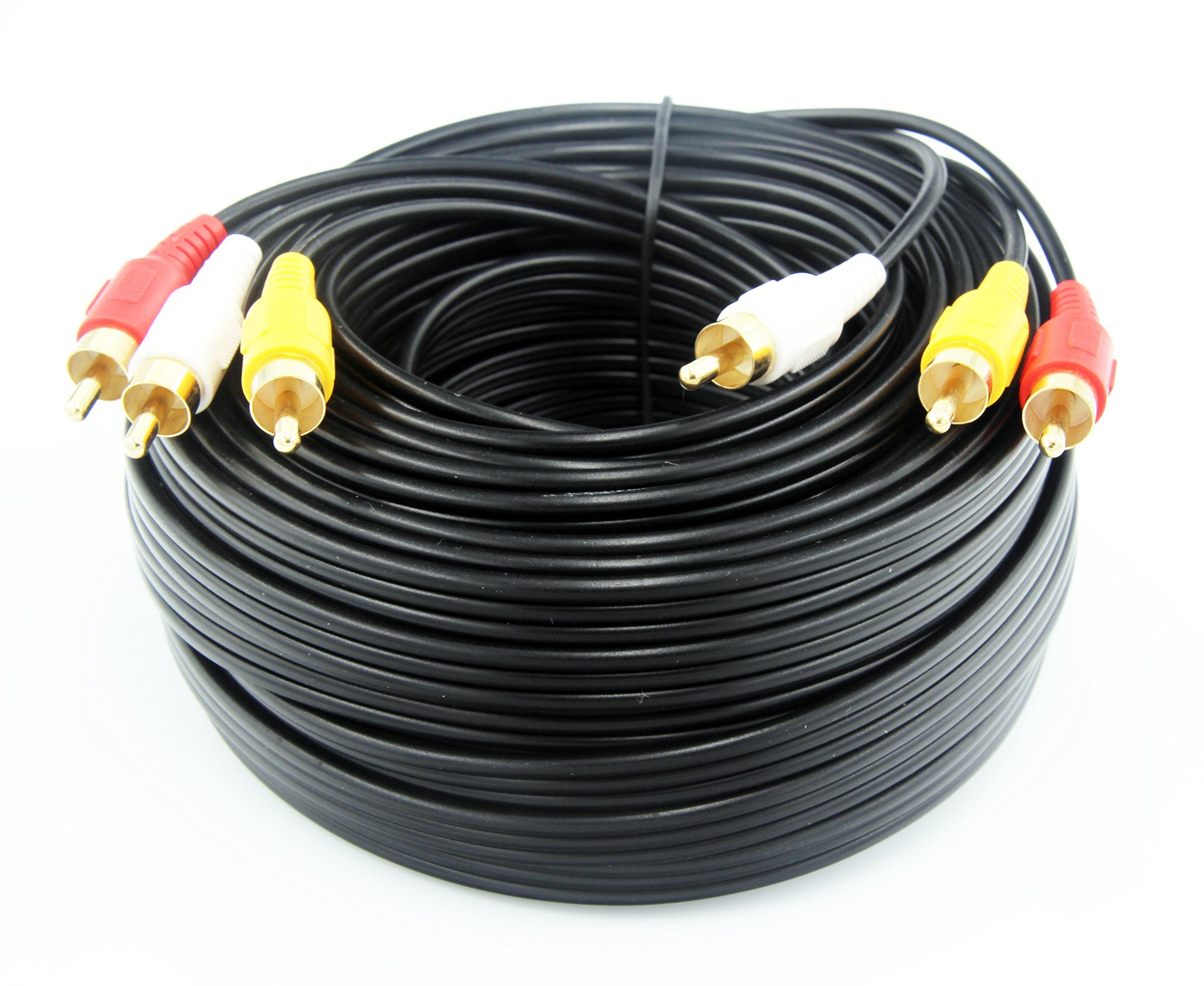 50FT/15M RCA M/Mx3 Audio/Video Cable Gold Plated - Audio Video RCA Stereo Cable 50FT by Nice tech