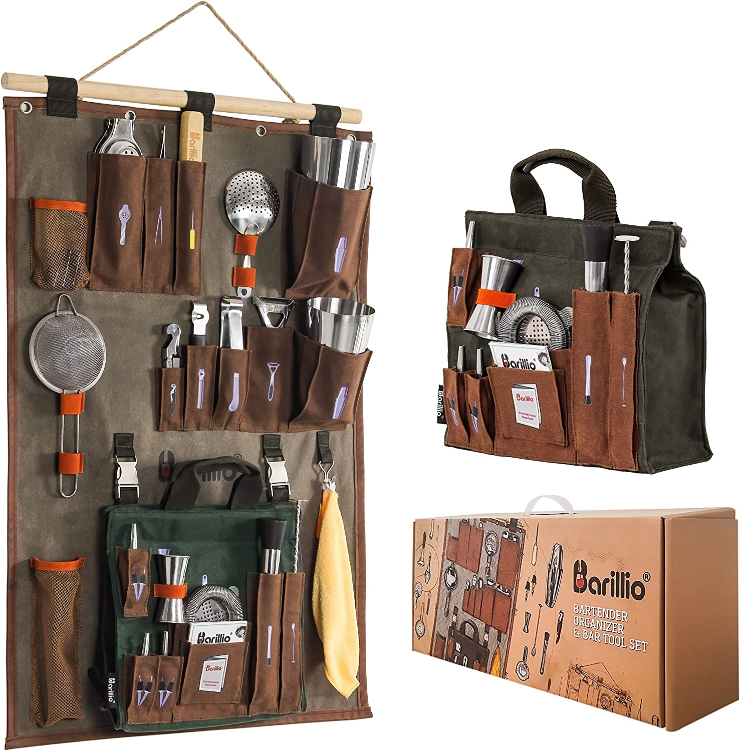 Bartender Wall Organizer With Bar tool Set | Professional Bartender Kit With Waxed Canvas Organiser Including Portable Bar Bag for Cocktail Kit | Perfect for Home Bartending
