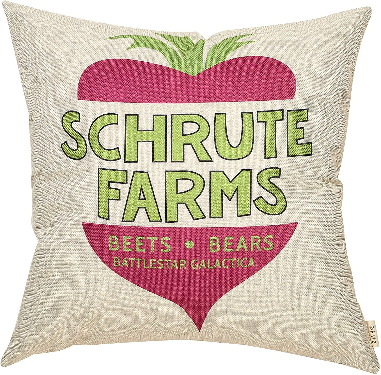 "Fjfz The Office Funny Décor TV Show Lover, Schrute Farms Decoration, Bears Beets Battlestar Galactica Sign Cotton Linen Home Decorative Throw Pillow Case Cushion Cover for Sofa Couch 18"" x 18"""