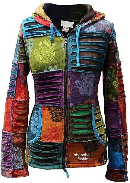 Shopoholic Moda Mujeres Multicolor Mano Henna Puntiaguda Sudadera Con Capucha Descolorido Hippy Chaqueta