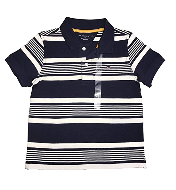 0fcda496 Image Unavailable. Image not available for. Color: Tommy Hilfiger Little  Boys Stripe t-Shirt Size 4T Navy Blue