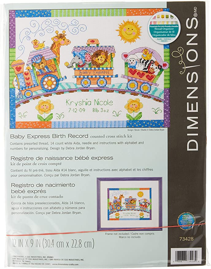 Cross Stitch Kit Birth Record Baby Dreams Dimensions Baby Hugs Free Shipping