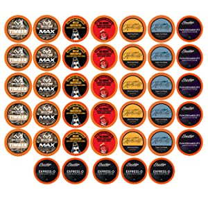 Best of the Best High Caffeine Coffee Pods, Variety Pack for Keurig K Cup Brewers, 40 Count - Strong and Regular Coffee Lovers, Great Gift - 5 Cups of Each