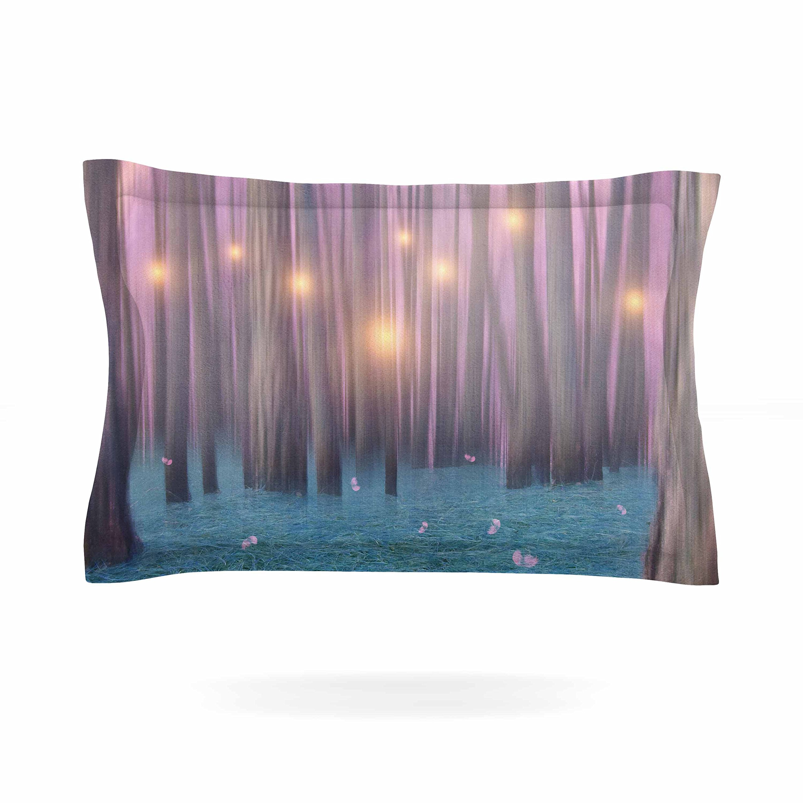 KESS InHouse Viviana Gonzalez ''Pink Feather Dance'' Digital Blue Pillow Sham, 40'' x 20''