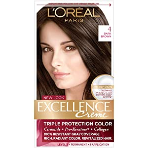 L'Oreal Paris Excellence Triple Protection Permanent Hair Color Creme, Dark Brown [4] 1 ea (Pack of 2)