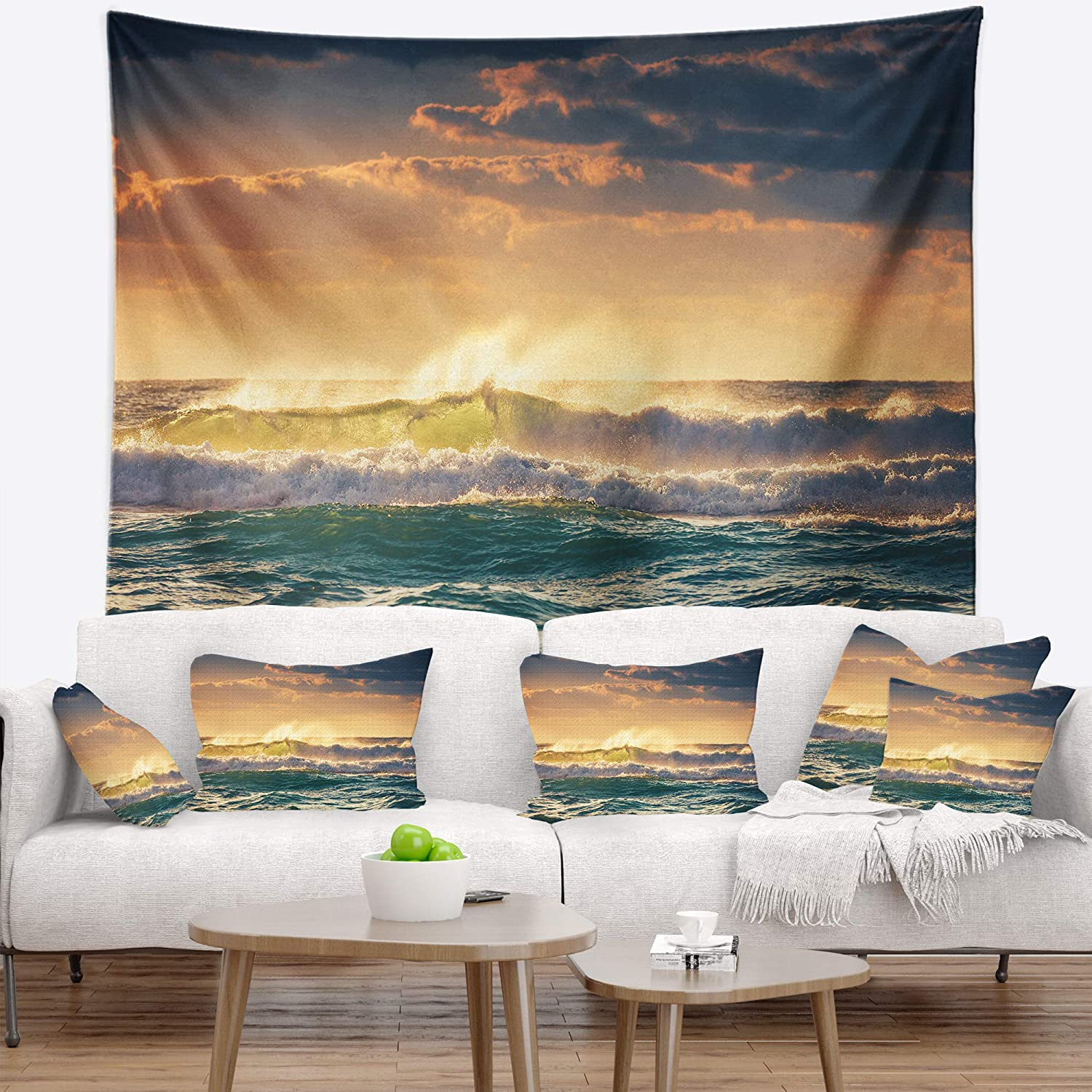 80 in Created On Lightweight Polyester Fabric Designart TAP10570-80-68  Sunrise and Shining Waves in Ocean Seascape Blanket D/écor Art for Home and Office Wall Tapestry x Large x 68 in