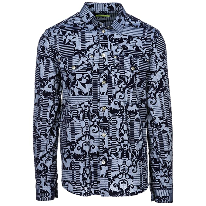 Versace Jeans Camisa de Mangas largas Hombre Nuevo BLU EU 48 (UK 38) B1GSB613