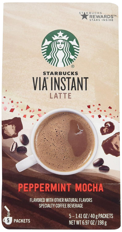 Starbucks Via Peppermint Mocha Latte 5 Single Serve Packets
