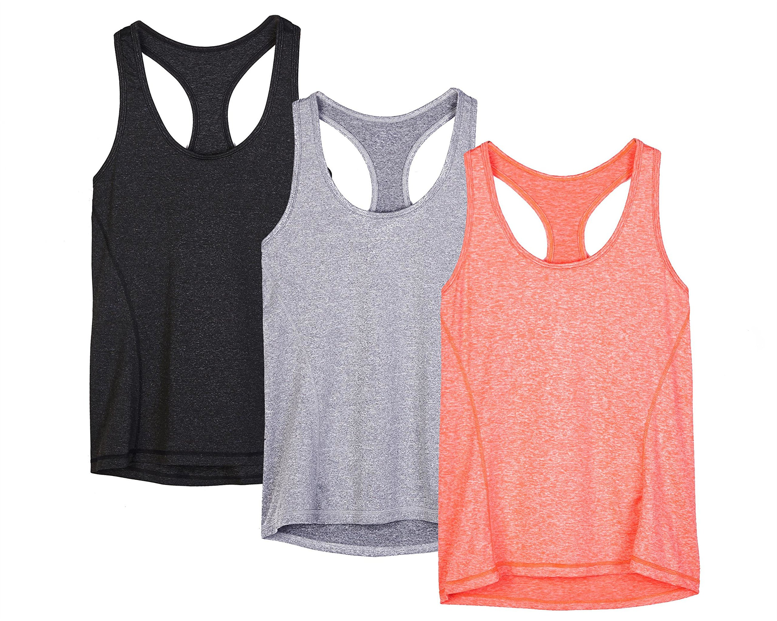 icyzone Workout Tank Tops for Women - Racerback Athletic Yoga Tops, Running Exercise Gym Shirts(Pack of 3)(XS, Black/Granite/Orange) by icyzone