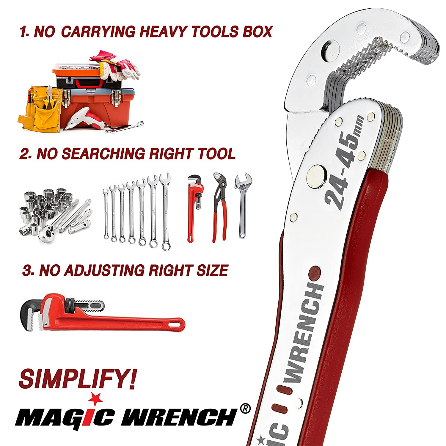 Multi-function Magic Wrench Universal Adjustable auto-ratcheting works as reversible ratchet pop socket combination /& pipe monkey spanner sae crescent nut gear-wrench set for craftsman /& plumbers