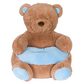 Soft Plush Teddy Bear Childrens Chair With Blue Corduroy Trim 18in