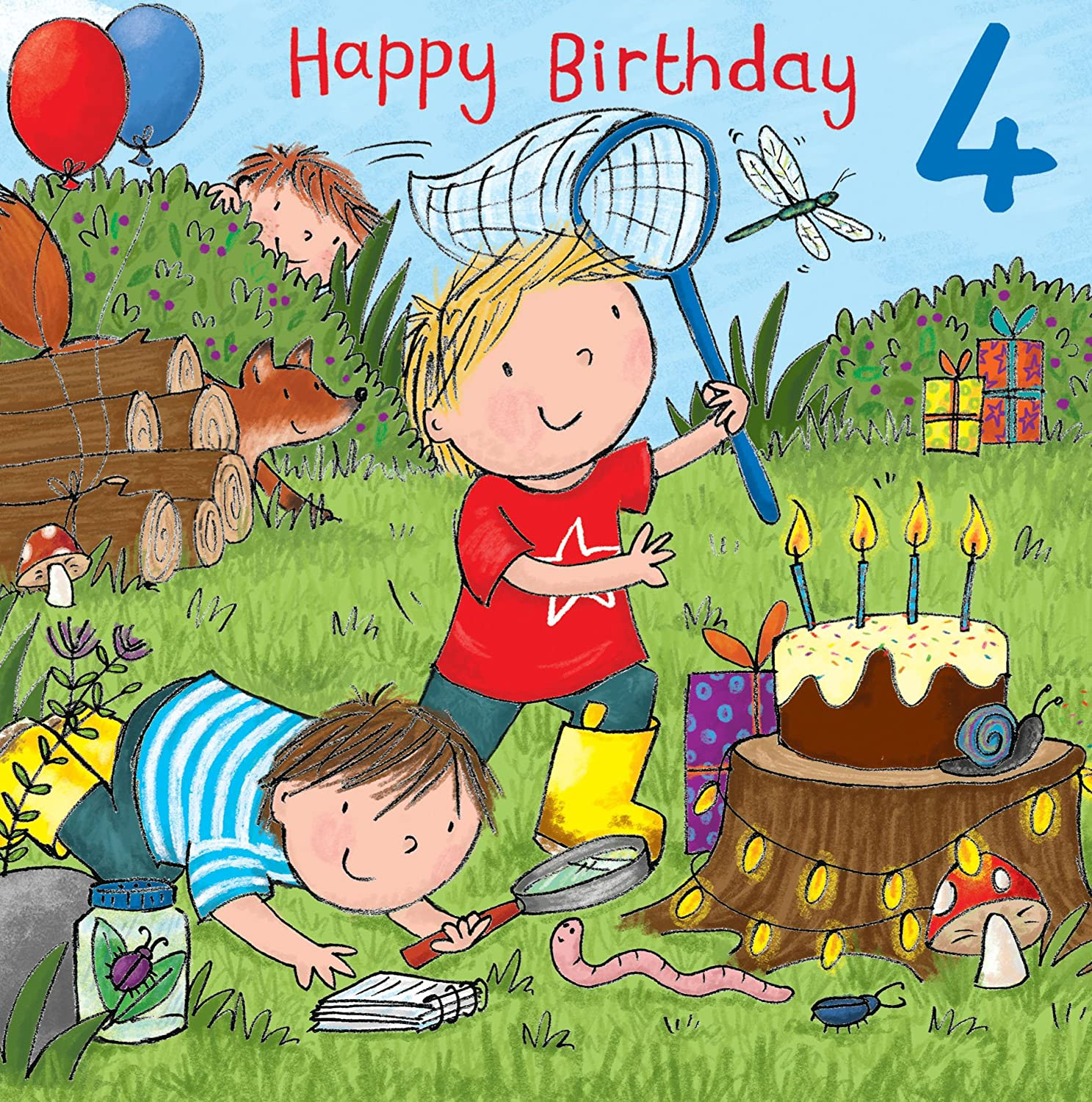 Twizler 4th Birthday Card For Boy With Cake Fox Presents And Glitter