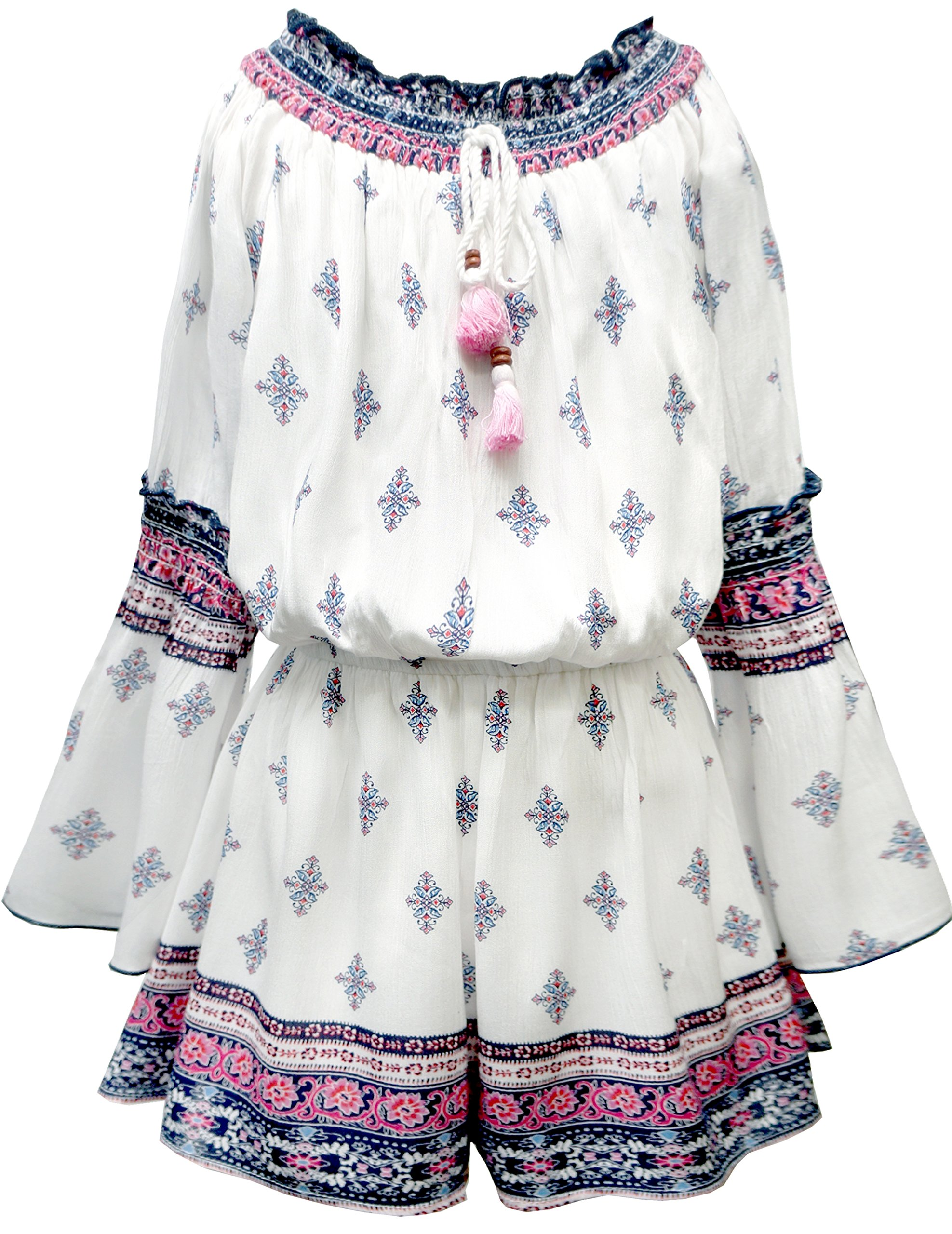 Truly Me, Big Girls Tween Long Sleeve Chiffon Romper (Many Options), 7-16 (Ivory Multi,12)