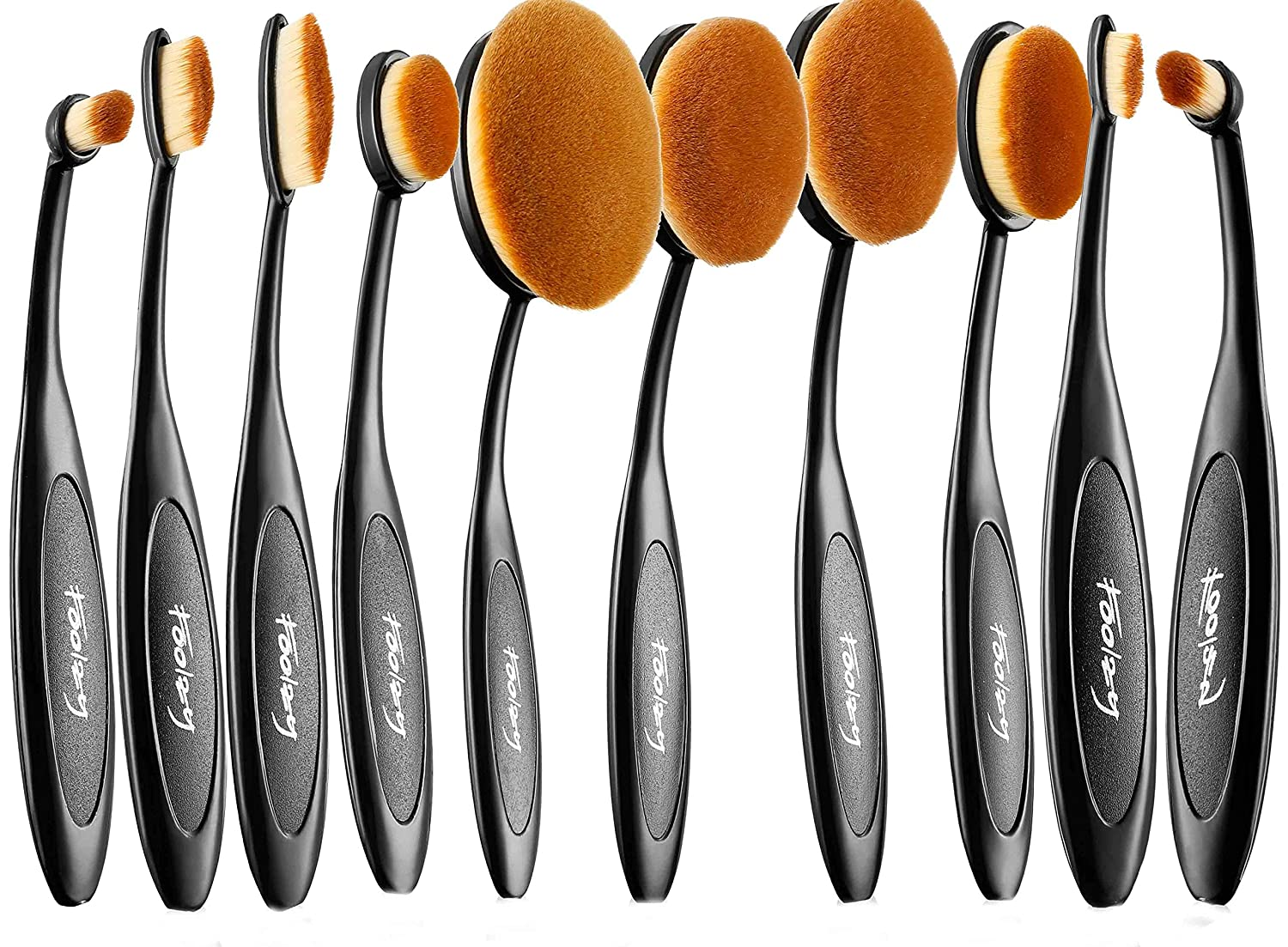 Foolzy BR-20A Oval Makeup Brush Set, Black (Set of 10)