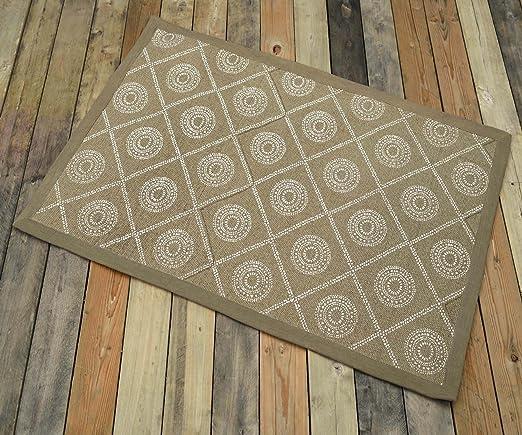 VLiving Alfombra de algodón, Color Beige, impresión geométrica, 100% algodón, Tribal, decoración rústica, alfombras, Alfombra pequeña, tamaño 61 x 91 cm: Amazon.es: Hogar