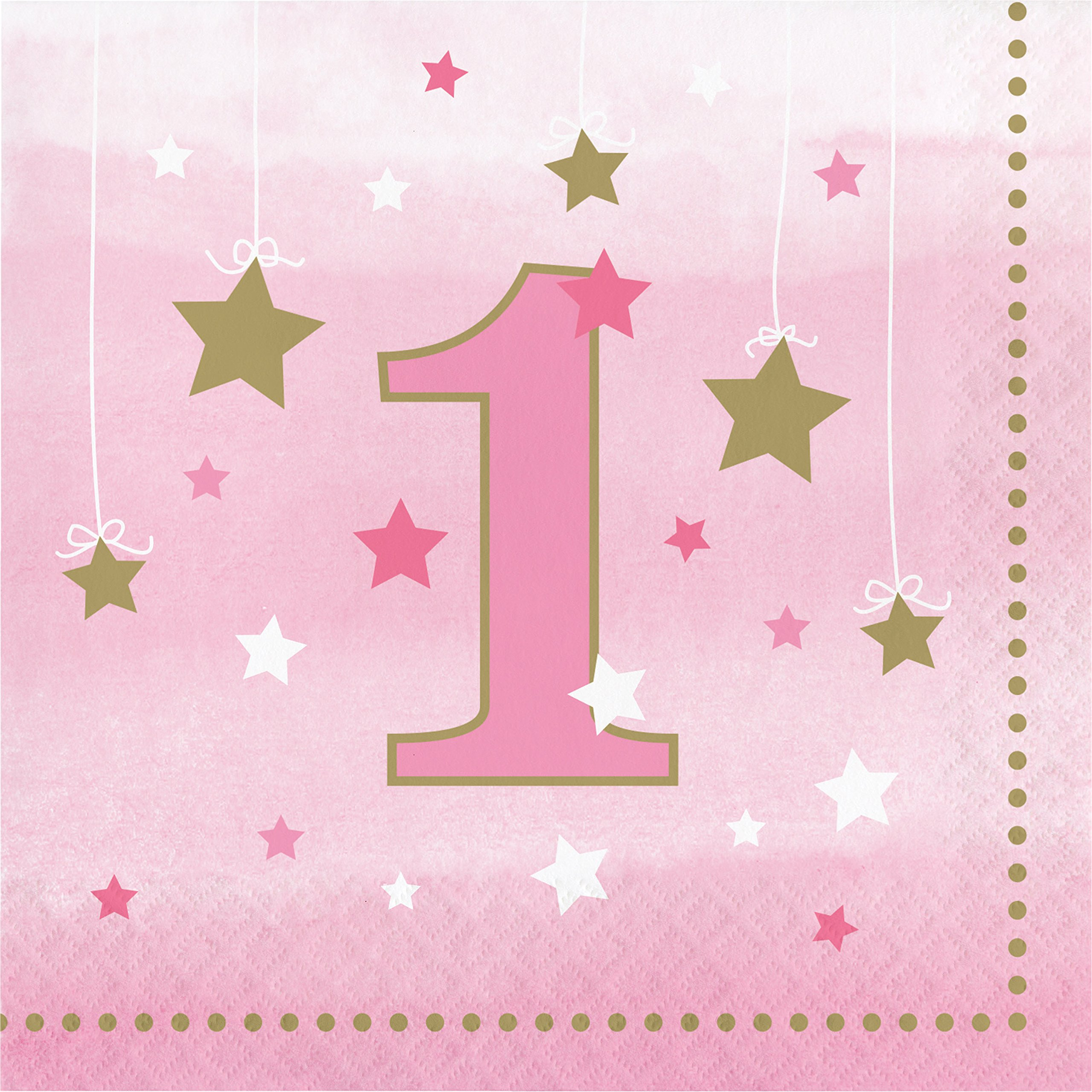One Little Star Girl 1st Birthday Napkins, 48 ct by Creative Converting