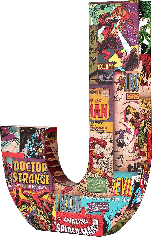 Marvel ME01J4 10 x 1 Red/Blue/Yellow Comics Wood Letter 'J'