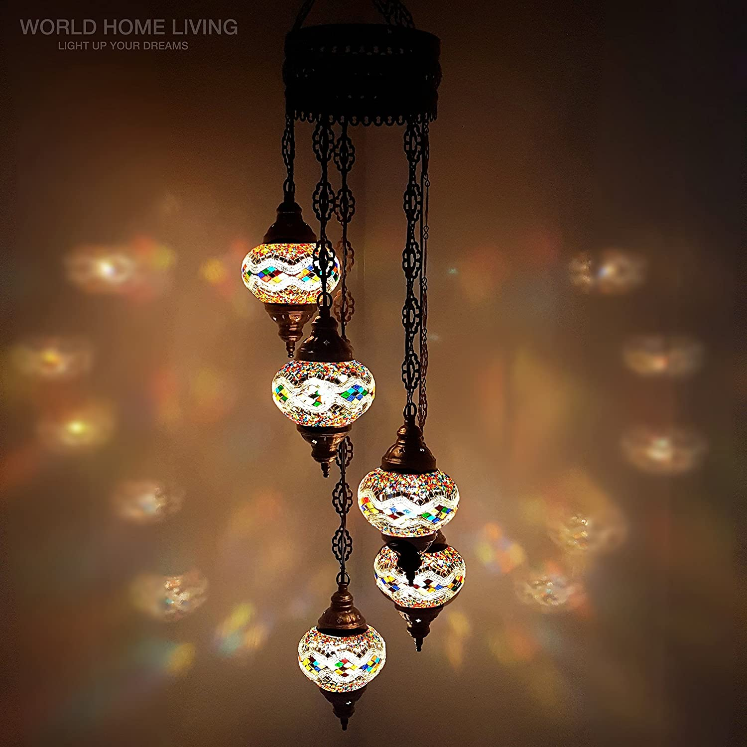 Turkish Moroccan Tiffany Style Hanging Glass Mosaic Chandelier