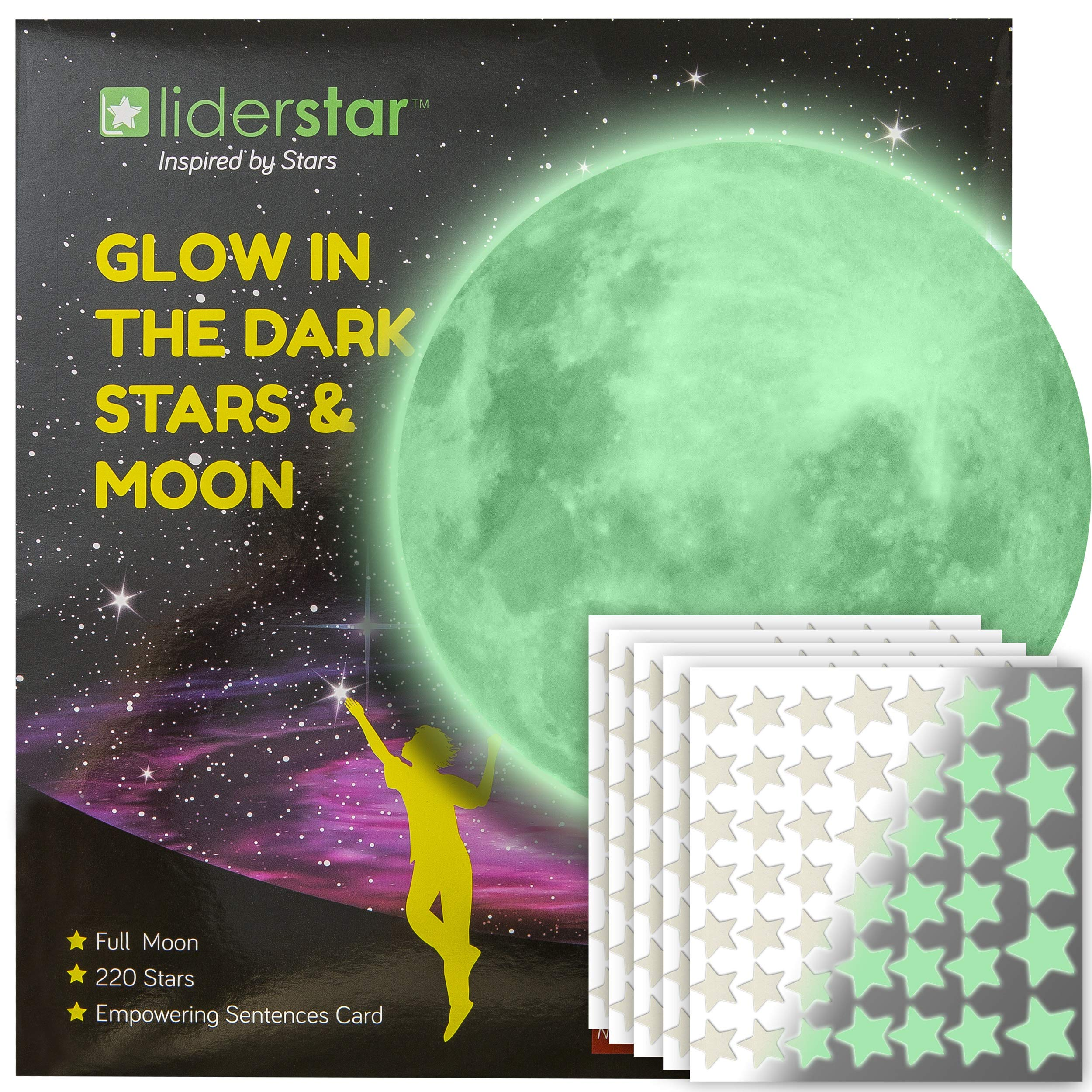 LIDERSTAR Glow in The Dark Stars and Free Removable Full Moon Wall Stickers 220 Adhesive Glowing Star Beautiful Wall Decals for Bedroom. for Room,Light Your Ceiling, Bonus Affirmation Card for Kids