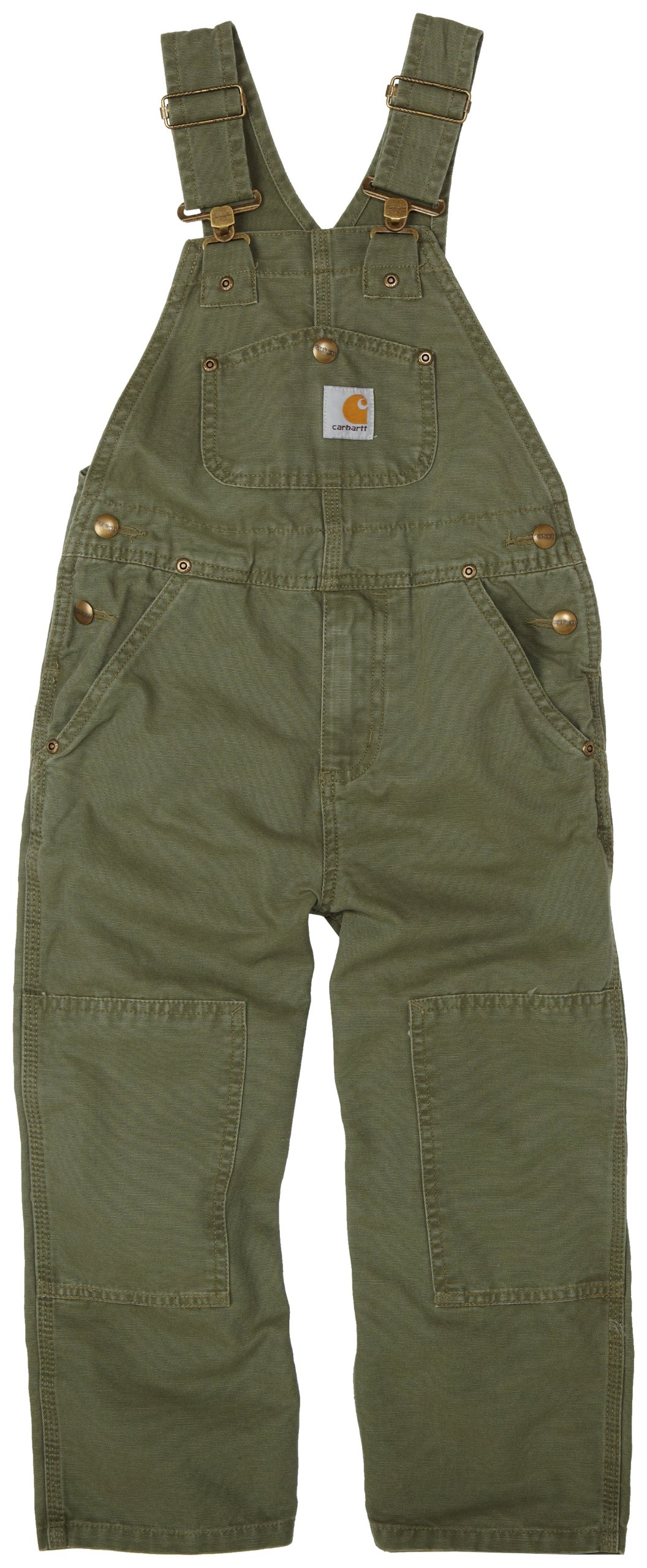 Carhartt Little Boys' Washed Bib Overall, Ivy Green, 7
