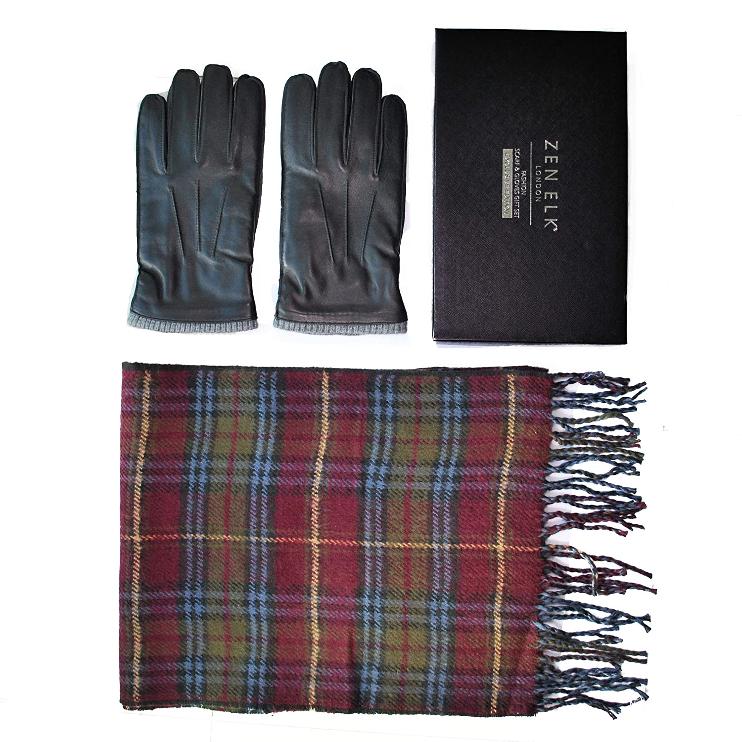 Men's Outseam Leather Gloves and Scarf with Reversible Patterns Box Set #19 (Large)