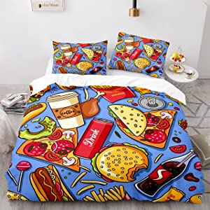American Fast Food Bedding for Kids Drink Coffee Hamburger Pizza Bed Set King Comforter Cover,1 Duvet Cover+2 Pillow Shams