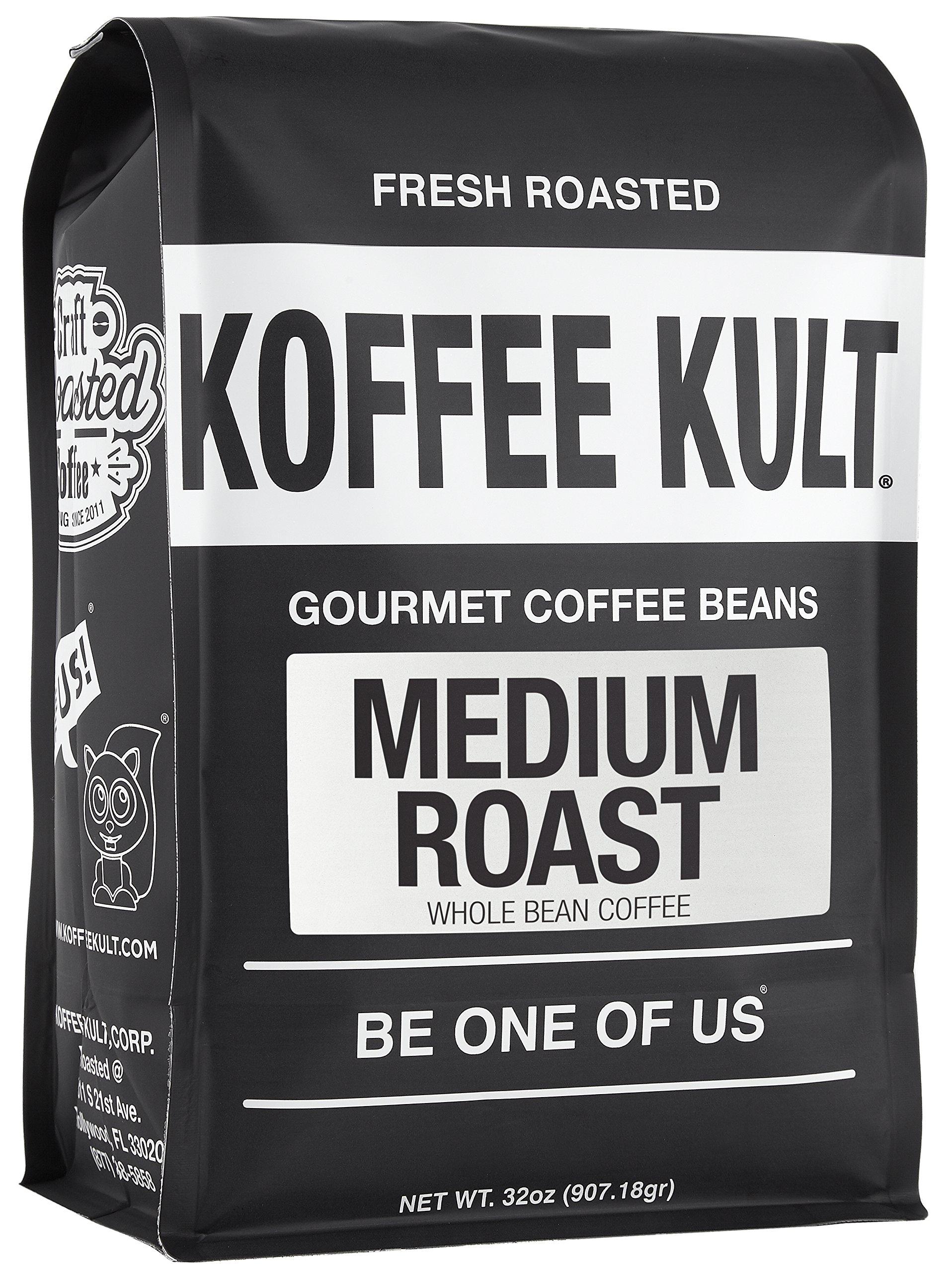 Koffee Kult - Medium Roast Coffee Beans (2 lb Whole Bean) Highest Quality Delicious Coffee - Fresh Gourmet Aromatic Artisan Blend