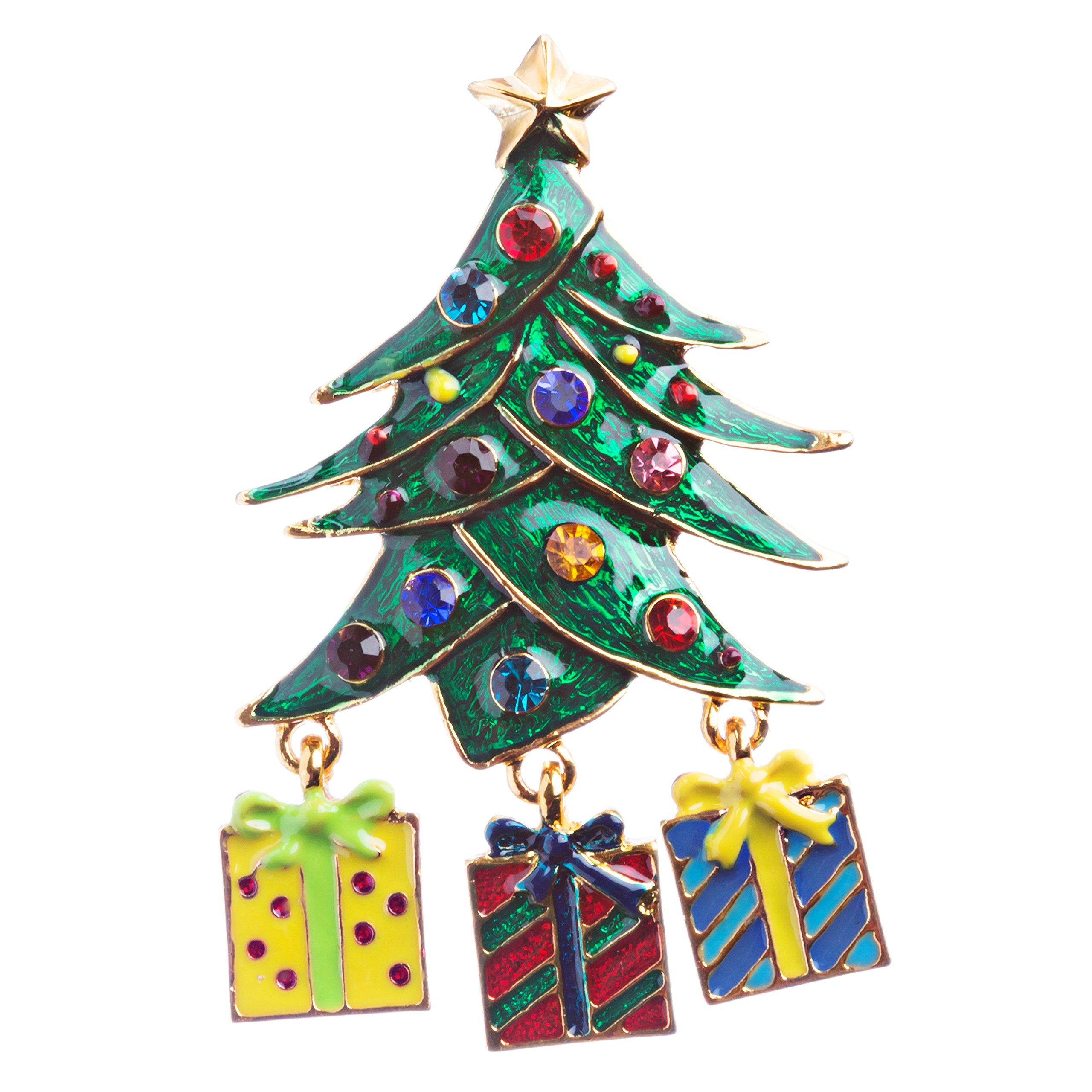 ACCESSORIESFOREVER Christmas Jewelry Crystal Rhinestone Holiday Gift Presents Tree Brooch Pin BH125