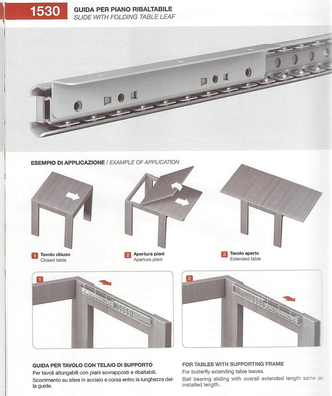 Guide Telescopiche Per Tavoli Allungabili.Coppia Guida Per Tavolo Allungabile Art 1530 Da 80 Cm Amazon It