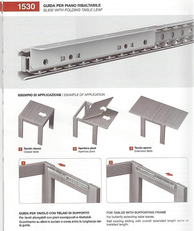 Guide Telescopiche Per Tavoli Allungabili.Coppia Guida Per Tavolo Allungabile Art 1530 Da 80 Cm
