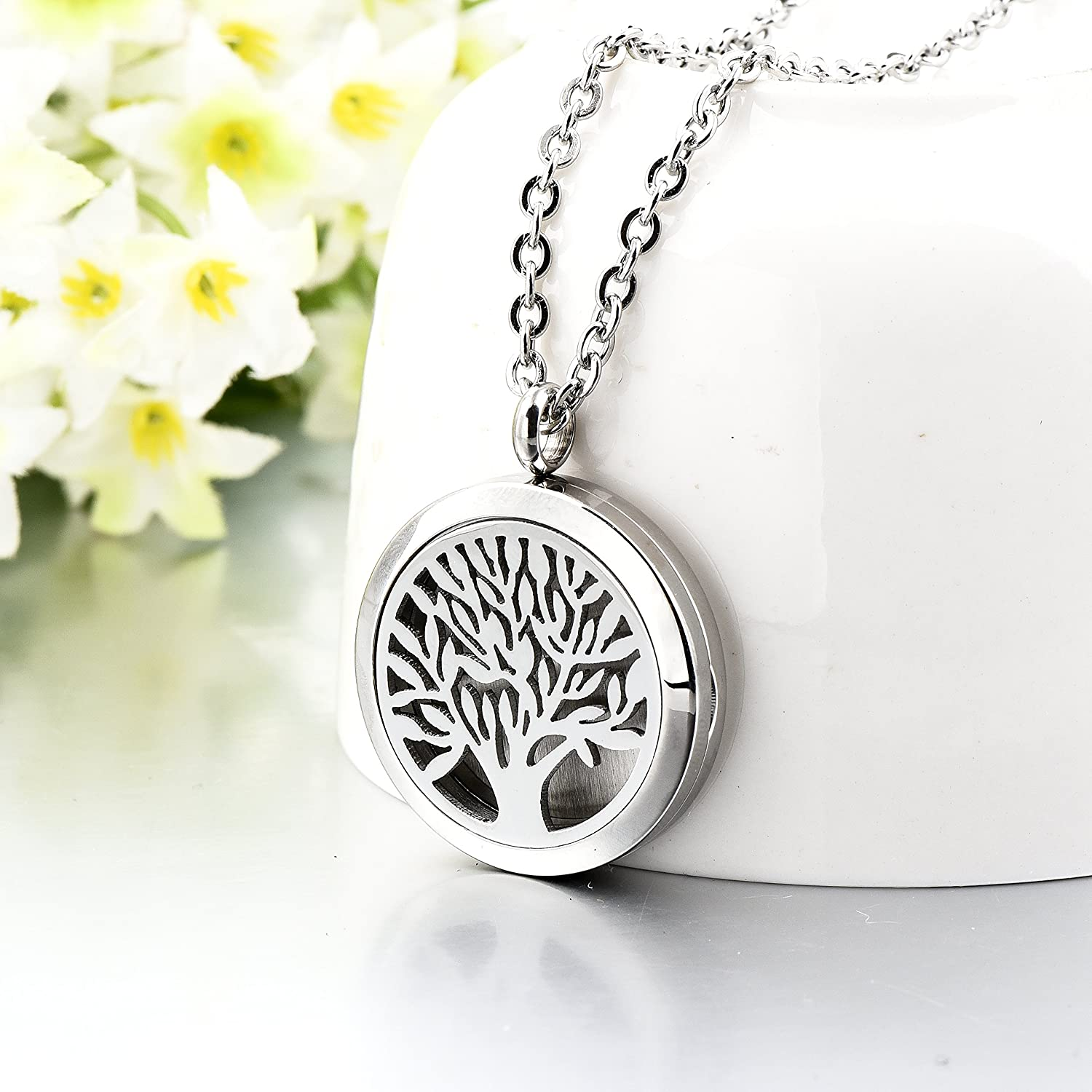 Long Way Tree of Life 316L Stainless Steel Essential Oil Diffuser Necklace Pendant Jewelry 22.8