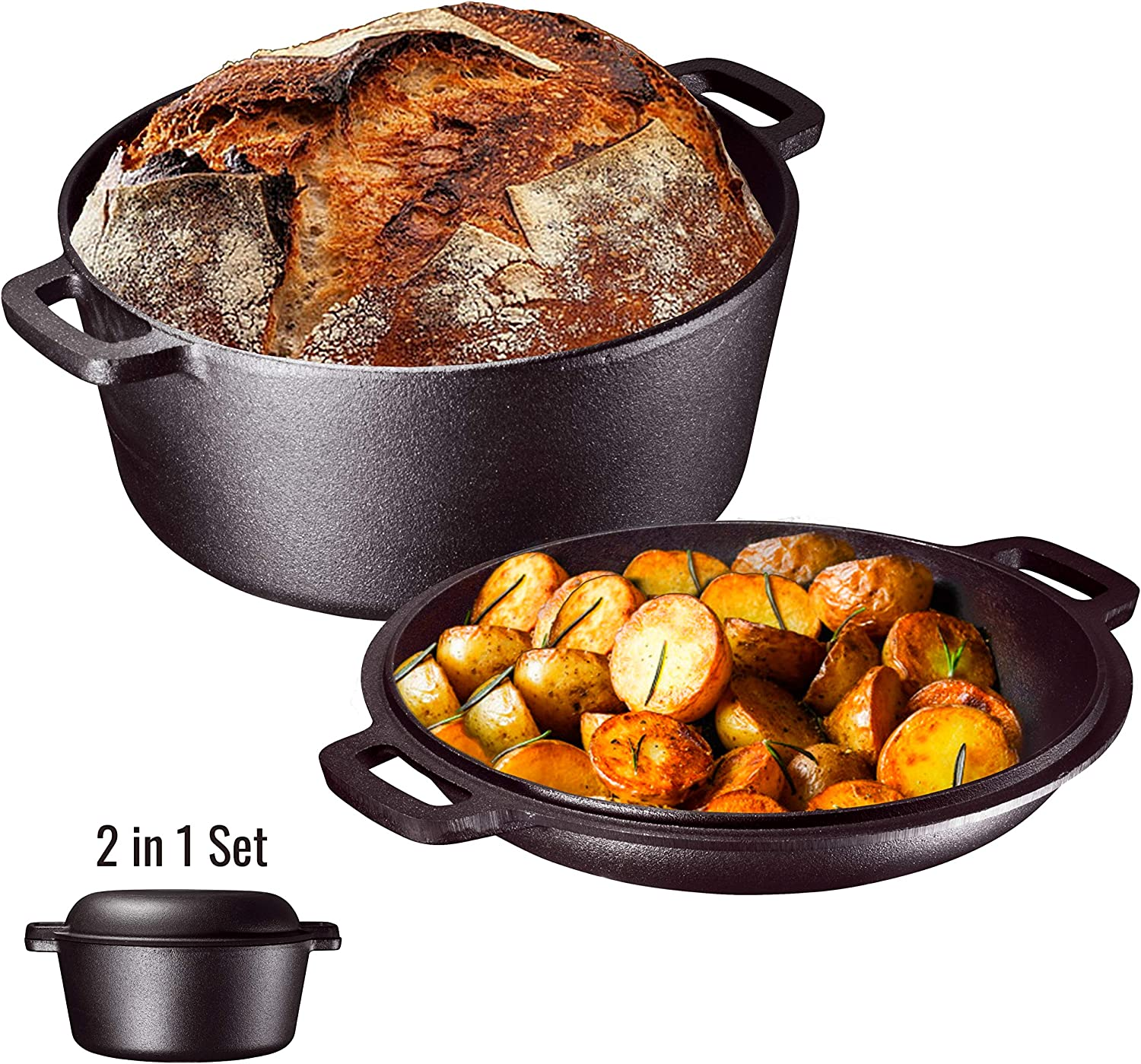 Heavy Duty Pre-Seasoned 2 In 1 Cast Iron Double Dutch Oven Set and Domed 10 inch Skillet Lid, Versatile Healthy Design, Non-Stick, 5-Quart
