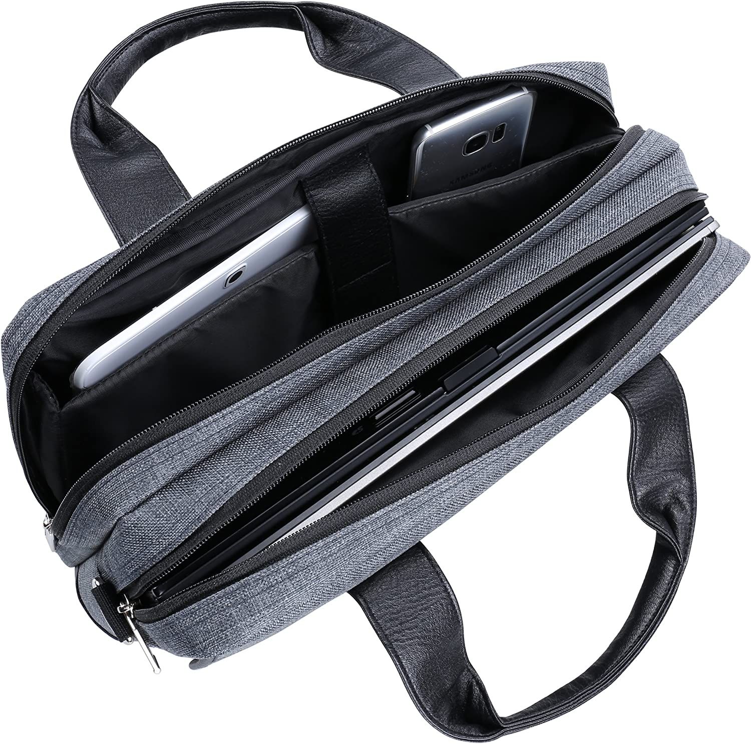 ThinkPad Chrono Grey Tote Messenger Bag Briefcase for Lenovo Yoga IdeaPad Series 11.6 to 12.5 Tablet Laptop and Sync and Charge Cable Flex