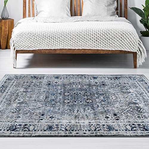 iCustomRug Lero Faded Traditional Styled 8 x 10 Area Rug Great for Bedroom, Living Room Or Family Room in Blue
