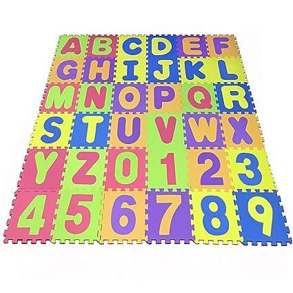 Puzzle Play Mat Foam Floor Play Mat Foam Interlocking Tiles Alphabet Number Foam Puzzle Mat Non Toxic Eva 36 Piece Multi Color Children Play