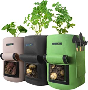 SproutJet 3 Pack 10 Gallon Potato Grow Bags with Pocket for Garden Tools, Sturdy Handles, Window Flaps for Root Vegetable Access and Drainage Holes; Large Fabric Grow Pots - Breathable for Aeration