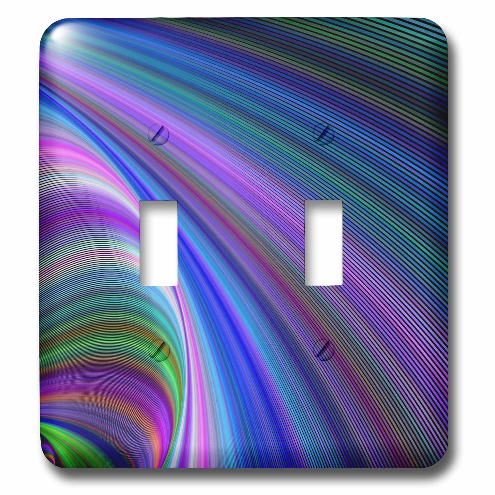 3dRose David Zydd - Colorful Abstract Designs - Sink in Colors - abstract curved graphic - Light Switch Covers - double toggle switch (lsp_286782_2) by 3dRose