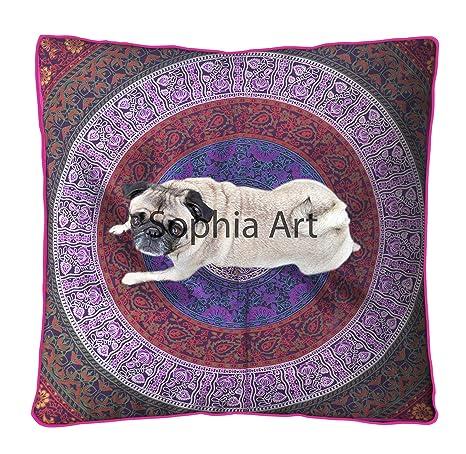 Sophia Art Indio Mandala Suelo Almohada Cuadrada sofá Grande Funda de cojín Algodón puf Otomano Asiento