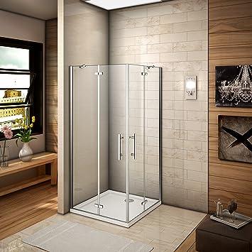 Mampara de ducha de bisagra 90 x 90 x 185 cm Puerta de ducha con barra de fijación con acceso de esquina cristal antical: Amazon.es: Bricolaje y herramientas